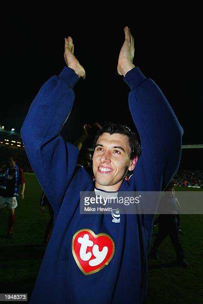 Portsmouth winning goalscorer Svetoslav Todorov celebrates his side winning promotion to the Premier League after the Nationwide League Division One...