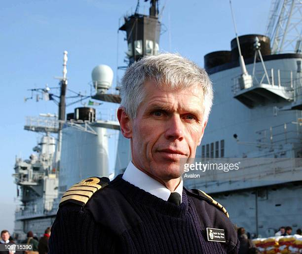 Portsmouth10 01 2003 Commanding officer of HMS Ark Royal ALAN MASSEY at a press conference before she sails from Portsmouth to embark on her tour of...