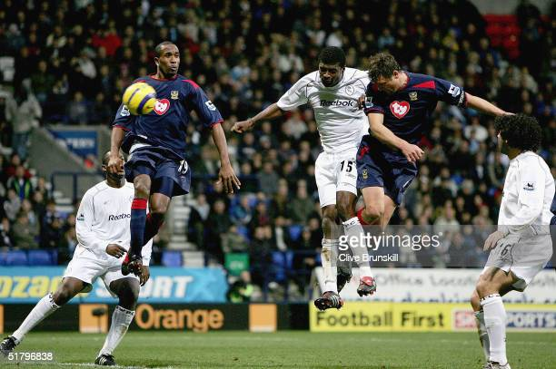 Portsmouths Arjan De Zeeuw scores the first goal during the Barclays Premiership match between Bolton Wanderers and Portsmouth at The Reebok Stadium...