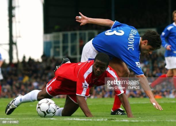 Portsmouth's Dejan Stefanovic and Charlton Athletic's Kevin Lisbie