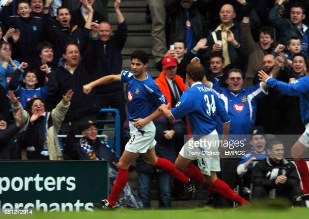 Portsmouth's Dejan Stefanovic celebrates his goal
