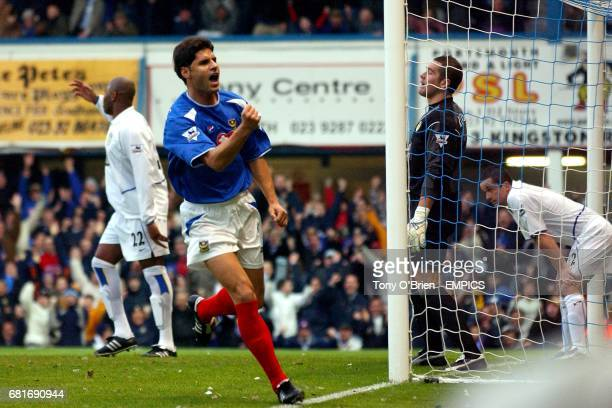 Portsmouth's Dejan Stefanovic celebrates scoring the opening goal as Leeds United's Michael Duberry and Paul Robinson stand dejected