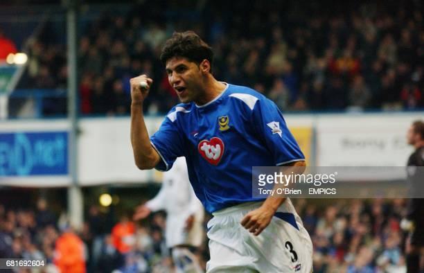 Portsmouth's Dejan Stefanovic celebrates scoring the opening goal against Leeds United