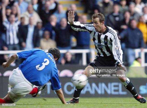 Portsmouth's Dejan Stefanovic handles the ball to give Newcastle a penalty as Newcastle's Lee Bowyer appeals during the Barclaycard Premiership match...