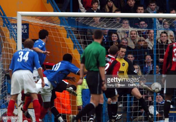Portsmouth's Dejan Stefanovic scores against Manchester City