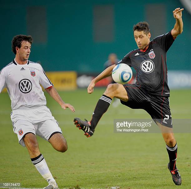 Portsmouth's Marc Wilson left defends against United's Branko Boskovic reciving a pass during the DC United vs Portsmouth FC in a Friendly at RFK...