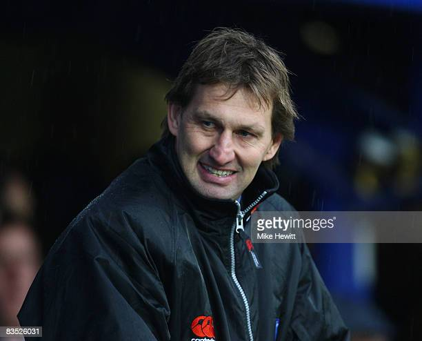 Portsmouth's new manager Tony Adams smiles prior to the Barclays Premier League match between Portsmouth and Wigan Athletic at Fratton Park on...