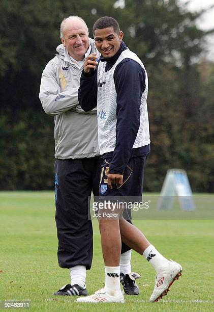 Portsmouth's Paul Hart shares a joke with KevinPrince Boateng during Portsmouth FC training session at their Eastleigh training ground on October 19...