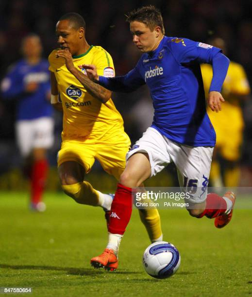 Portsmouth's Scott Allan in action against Crystal Palace's Nathaniel Clyne during the npower Football League Championship match at Fratton Park...