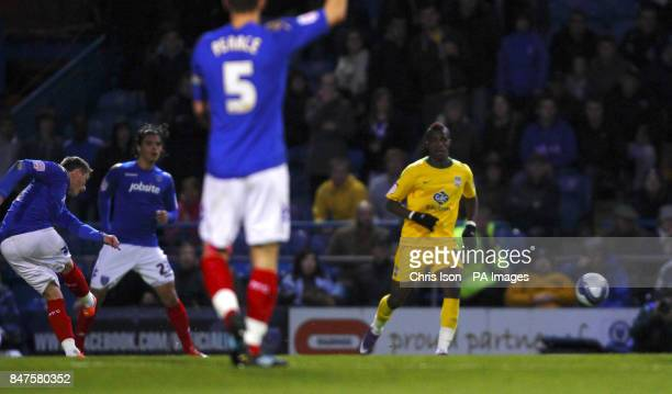 Portsmouth's Scott Allan scores from distance during the npower Football League Championship match at Fratton Park Portsmouth