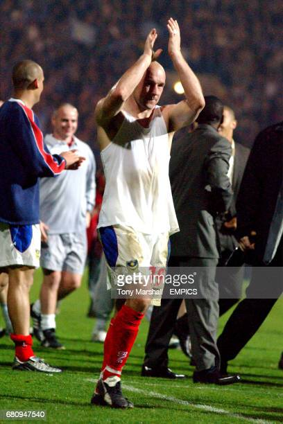 Portsmouth's Steve Stone celebrates promotion to the Premiership after the win against Burnley