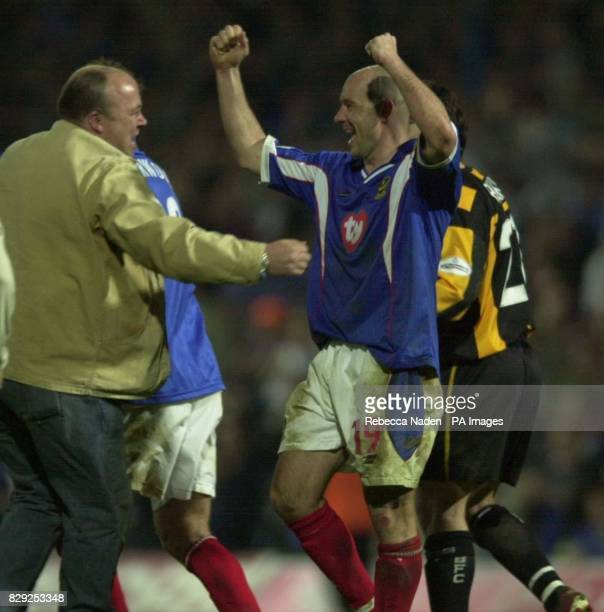 Portsmouth's Steve Stone celebrates winning the Nationwide League Division One match against Burnley and promotion to the Premiership at Fratton Park...