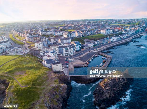 portstewart harbor - northern ireland stock photos and pictures