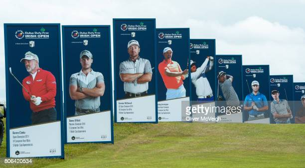 Portstewart United Kingdom 3 July 2017 A general view of players posters on the course ahead of the Dubai Duty Free Irish Open Golf Championship at...