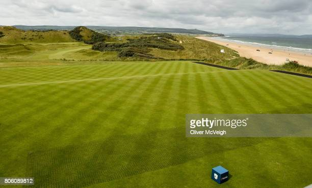 Portstewart United Kingdom 3 July 2017 A general view of the 1st tee box from the grandstand ahead of the Dubai Duty Free Irish Open Golf...
