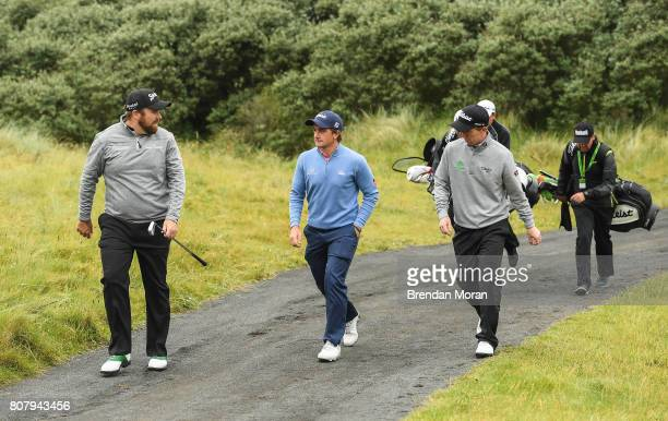 Portstewart United Kingdom 4 July 2017 Shane Lowry Paul Dunne and Gavin Moynihan of Ireland during a practice round ahead of the Dubai Duty Free...