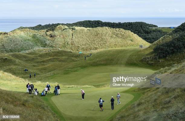Portstewart United Kingdom 5 July 2017 A general view of Graeme McDowell's group on the 2nd green during the ProAm ahead of the Dubai Duty Free Irish...