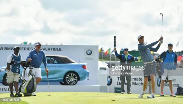 Portstewart United Kingdom 5 July 2017 Darren Clarke of Northern Ireland watches his son Tyrone Clarke tee off during the ProAm ahead of the Dubai...