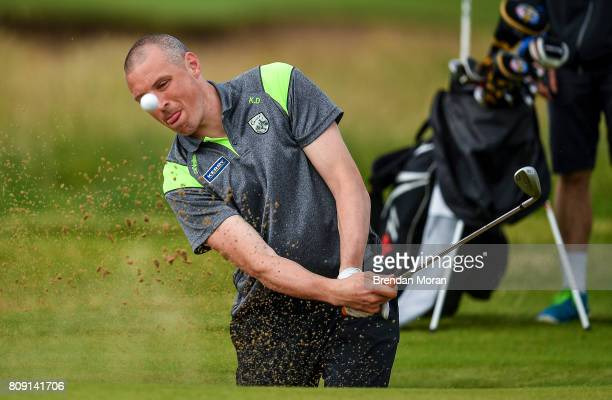 Portstewart United Kingdom 5 July 2017 Kerry footballer Kieran Donaghy chips out of a bunker during the ProAm ahead of the Dubai Duty Free Irish Open...