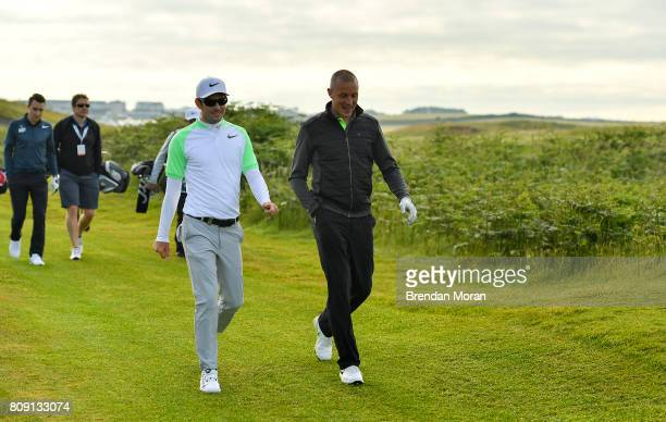 Portstewart United Kingdom 5 July 2017 Kerry footballer Kieran Donaghy right with Dylan Frittelli of South Africa during the ProAm ahead of the Dubai...