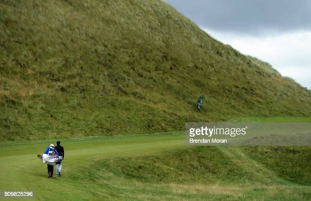 Portstewart United Kingdom 6 July 2017 Rory McIlroy of Northern Ireland makes his way to the 2nd green during Day 1 of the Dubai Duty Free Irish Open...