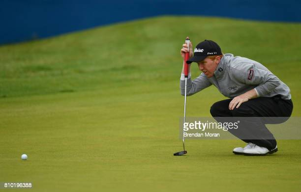 Portstewart United Kingdom 7 July 2017 Gavin Moynihan of Ireland lines up a putt on the 18th green during Day 2 of the Dubai Duty Free Irish Open...