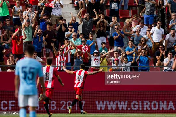 09 Portu from Spain of Girona FC celebrating the first goal of the match during the Costa Brava Trophy match between Girona FC and Manchester City at...