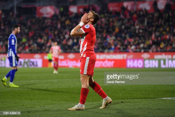 Portu of Girona reacts after missing a chance during the La Liga match between Girona FC and Deportivo Alaves at Montilivi Stadium on January 12 2019...