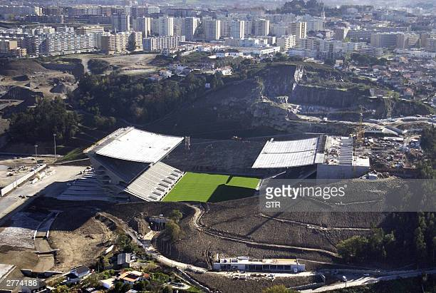 Aerial view taken in November 2003 of the Estadio Municipal in Braga The stadium will host up to 30000 football fans during two games of the first...