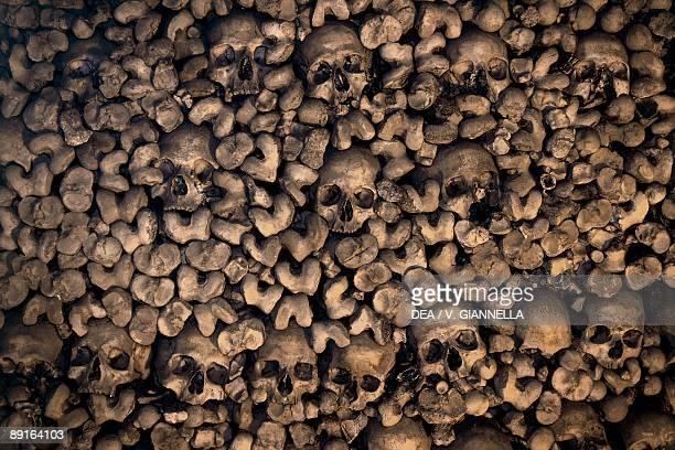 Portugal Alentejo Evora Historic centre of Evora detail of wall of Chapel of Bones covered with human bones and skulls