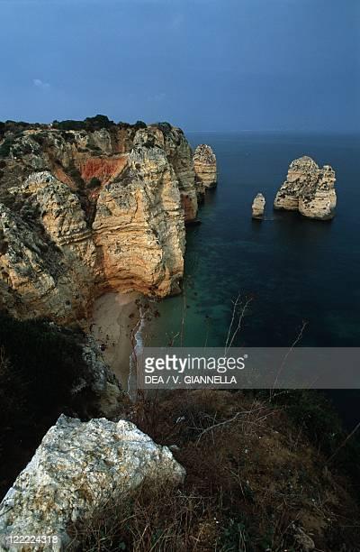 Portugal Algarve cliff and rocks at coast between Ponta da Piedade and Lagos