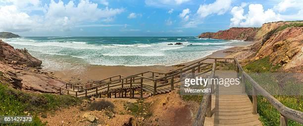 Portugal, Algarve, Lagos, Carrapateira, Praia do Amado, panoramic view
