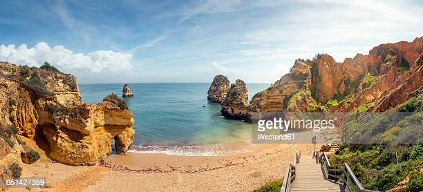 portugal, algarve, lagos, praia do camilo, panoramic view - lagos portugal stock photos and pictures