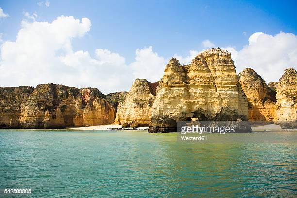 portugal, algarve, lagos, rocky coast - lagos portugal stock photos and pictures