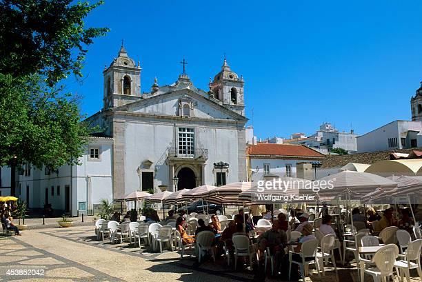 Portugal Algarve Lagos Sidewalk Cafe With Church Of Santa Maria