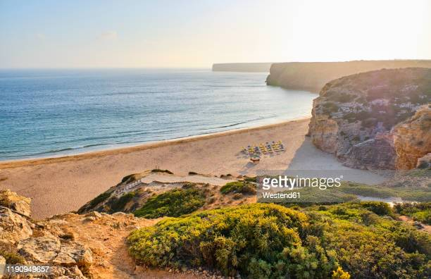 portugal, algarve, sagres, beliche sandy beach at sunrise - sagres stock pictures, royalty-free photos & images