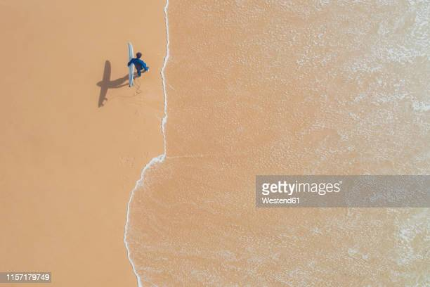 portugal, algarve, sagres, praia da mareta, aerial view of man carrying surfboard on the beach - sagres stock pictures, royalty-free photos & images