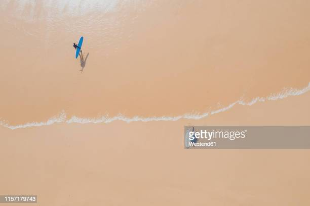 portugal, algarve, sagres, praia da mareta, aerial view of two men with surfboards at the sea - sagres stock pictures, royalty-free photos & images