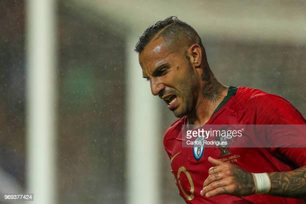 Portugal and Besiktas forward Ricardo Quaresma reacts during Portugal vs Algeria International Friendly match at Estadio da Luz on June 7 2018 in...