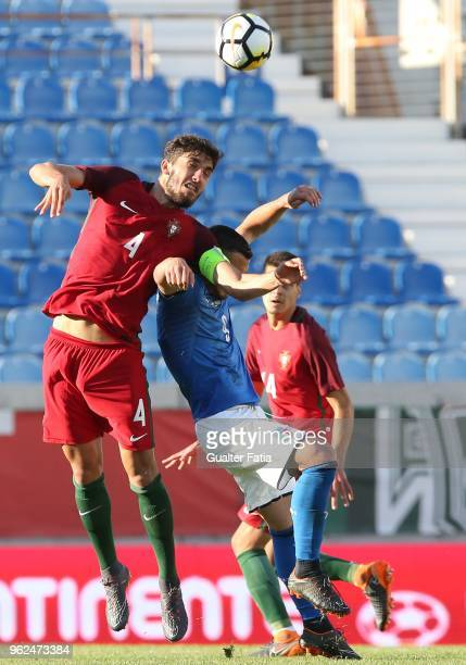 Portugal and CD Tondela defender Jorge Fernandes with Italy and Spal forward Federico Bonazzoli in action during the U21 International Friendly match...
