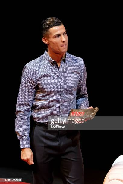 Portugal and Juventus forward Cristiano Ronaldo gosing to media with 'Marca Leyenda' award on July 29, 2019 in Madrid, Spain.. - The award is...