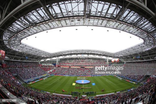 TOPSHOT Portugal and Mexico's team line up before the 2017 Confederations Cup group A football match between Portugal and Mexico at the Kazan Arena...