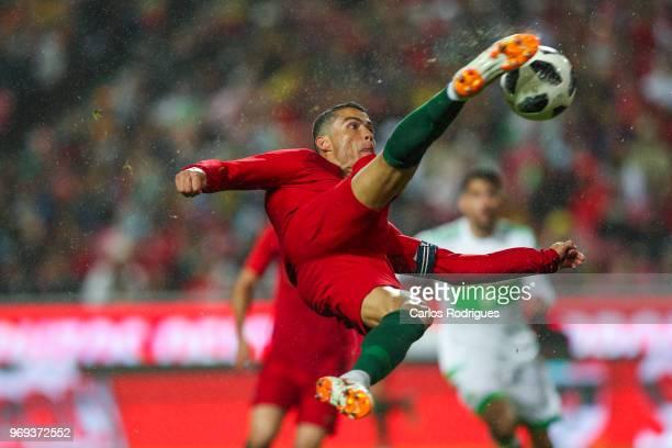 Portugal and Real Madrid forward Cristiano Ronaldo in action during Portugal vs Algeria International Friendly match at Estadio da Luz on June 7 2018...