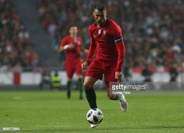 Portugal and Real Madrid forward Cristiano Ronaldo in action during the International Friendly match between Portugal and Algeria at Estadio da Luz...