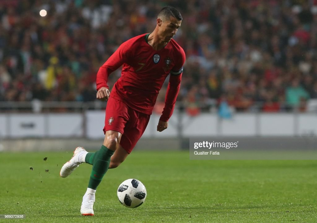 Portugal and Real Madrid forward Cristiano Ronaldo in action during the International Friendly match between Portugal and Algeria at Estadio da Luz on June 7, 2018 in Lisbon, Portugal.