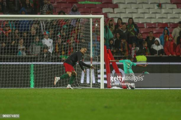 Portugal and Real Madrid forward Cristiano Ronaldo playing football with his soon Cristianinho during Portugal vs Algeria International Friendly...