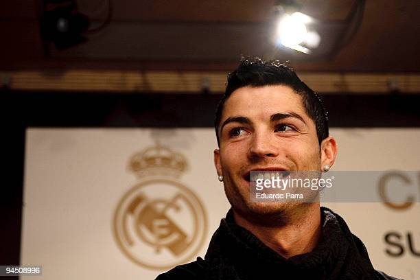 Portugal and Real Madrid's Cristiano Ronaldo attends the presentation of the book Suenos Cumplidos at Bernabeu Stadium in Madrid on December 16 2009...