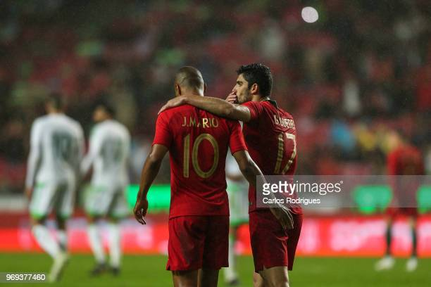 Portugal and West Ham United midfielder Joao Mario and Portugal and Valencia FC forward Goncalo Guedes during Portugal vs Algeria International...