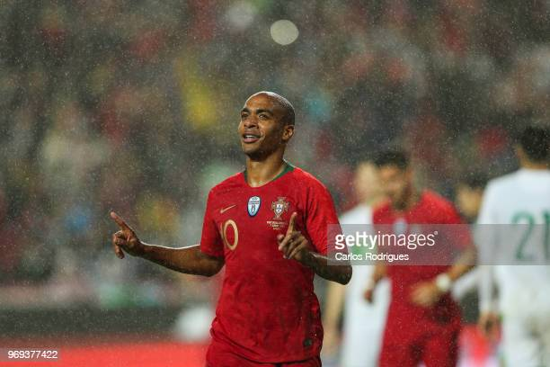 Portugal and West Ham United midfielder Joao Mario celebrates scoring Portugal goal that referee invalids during Portugal vs Algeria International...