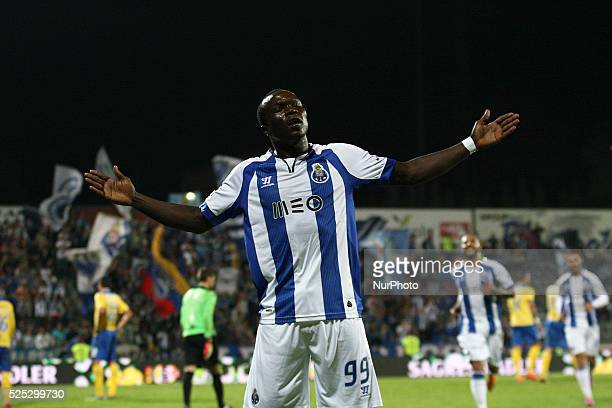 Porto's Cameroonian forward Vincent Aboubakar celebrates after scoring during the Premier League 2014/15 match between FC Arouca and FC Porto at...